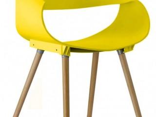 Krzesło gięte design z tworzywa do biura salonu ŻÓŁTE